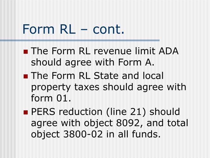 Form RL – cont.
