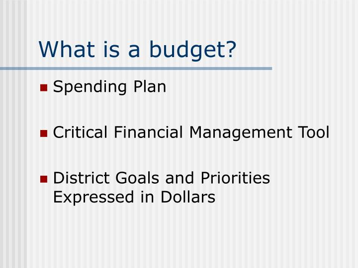What is a budget