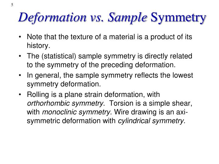 Deformation vs. Sample