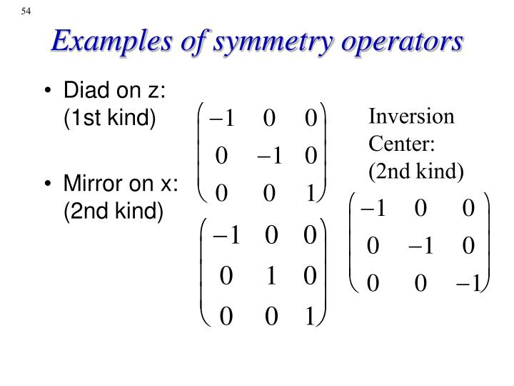 Examples of symmetry operators