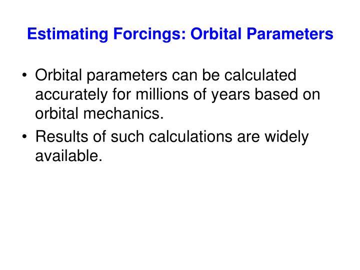 Estimating Forcings: Orbital Parameters