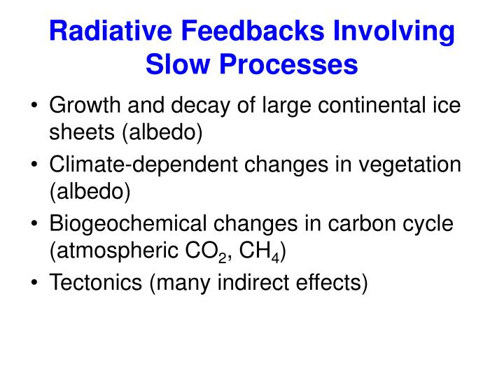 Radiative Feedbacks Involving Slow Processes