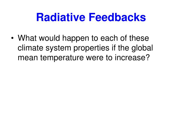 Radiative Feedbacks