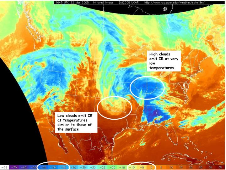 High clouds emit IR at very low temperatures