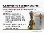 community s water source