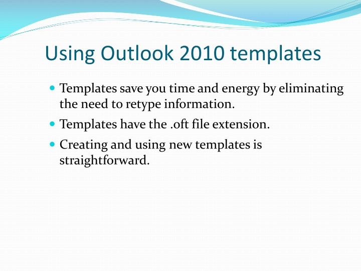 outlook 2010 templates