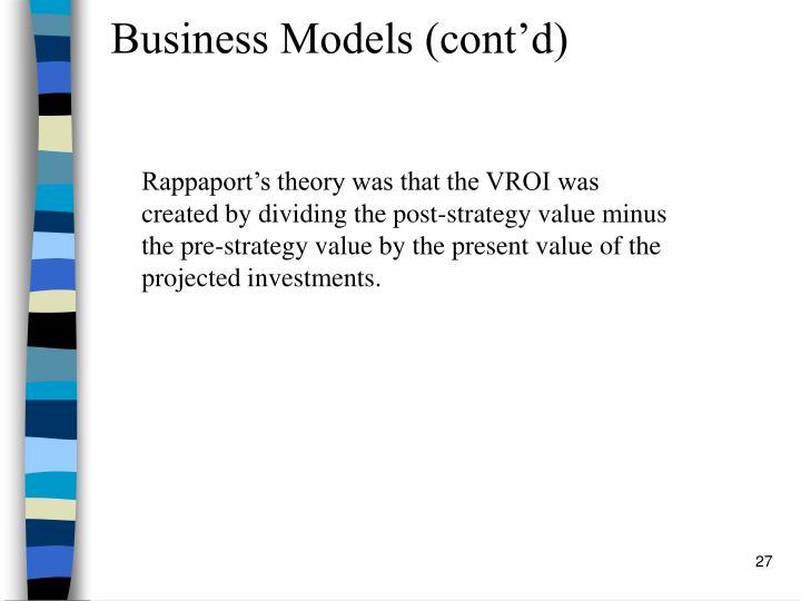 Business Models (cont'd)