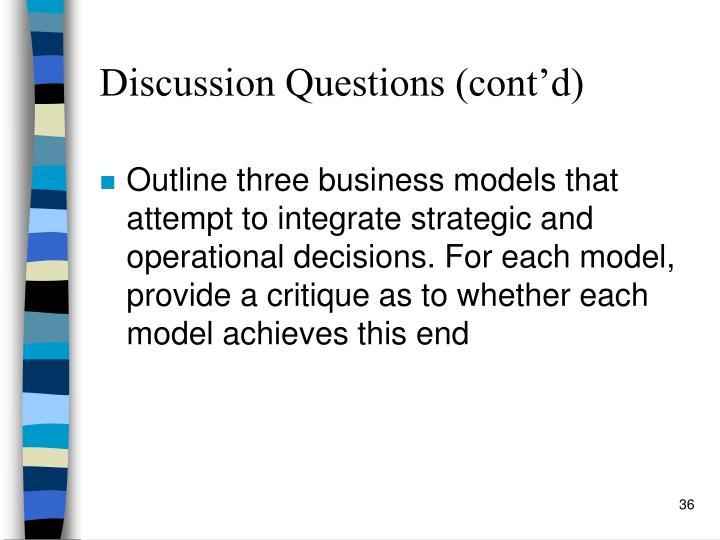 Discussion Questions (cont'd)