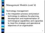 management models cont d1