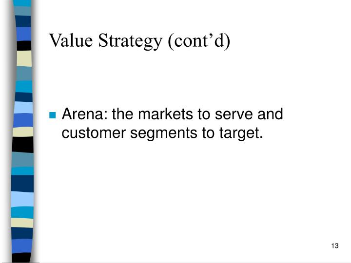 Value Strategy (cont'd)