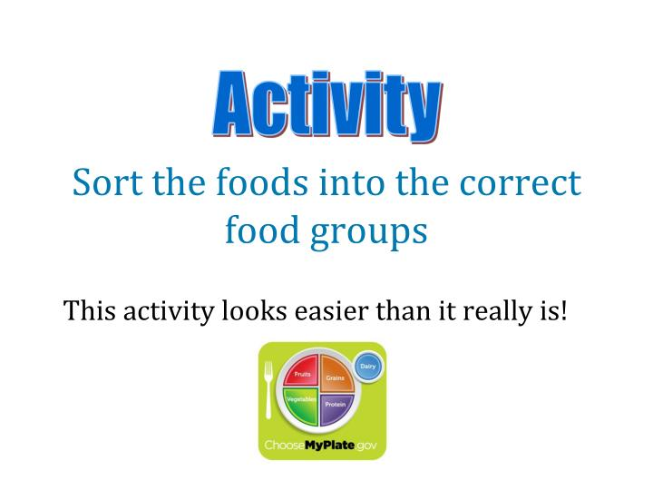 Sort the foods into the correct food groups