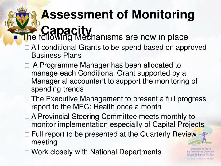 Assessment of Monitoring Capacity