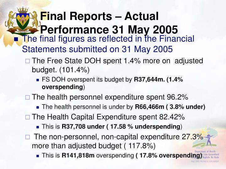 Final Reports – Actual Performance 31 May 2005