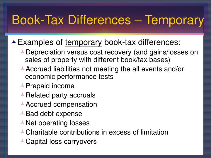 Book-Tax Differences – Temporary
