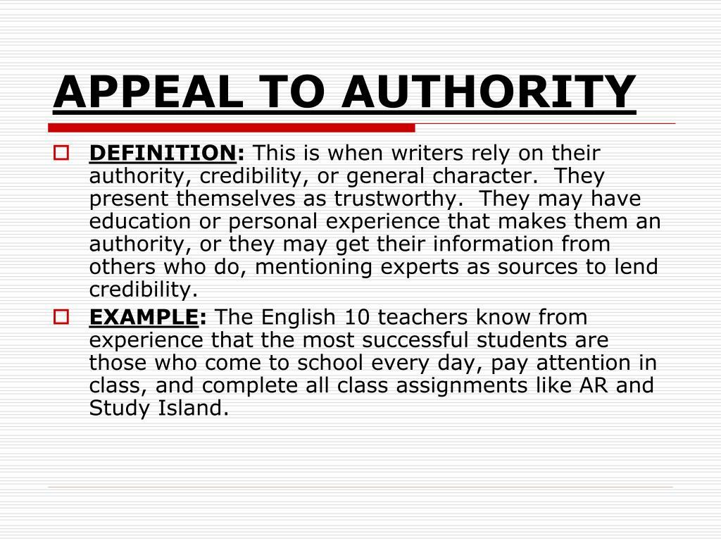 Authority define in writing an argumentative essays