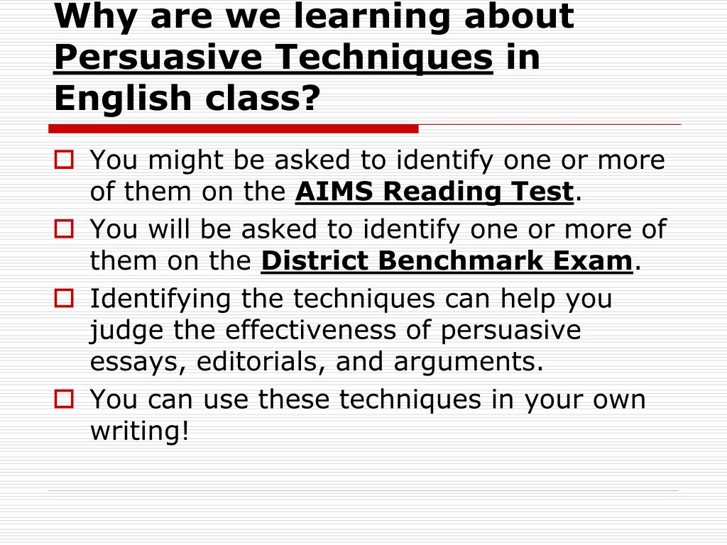 Examples Of Essay About Life Techniques To Use In Persuasive Essay Writing Techniques To Use In  Persuasive Essay Writing Essay On Water Is Life also Essay Topics On Technology Essay Techniques Descriptive Essay Topics List Essay Writing  Essay On Gun Control