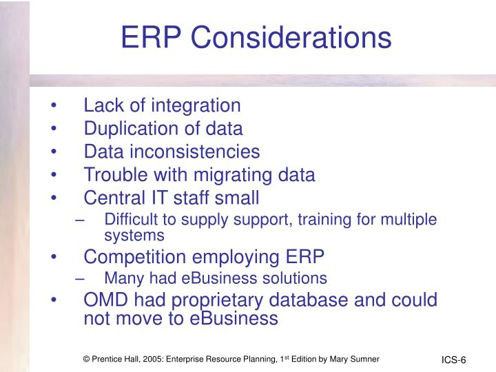 ERP Considerations