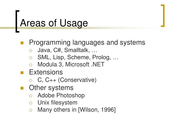 Areas of Usage