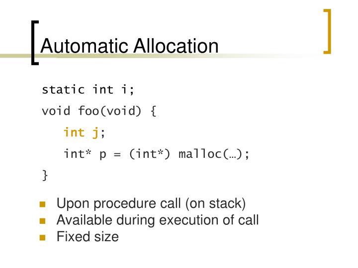 Automatic Allocation