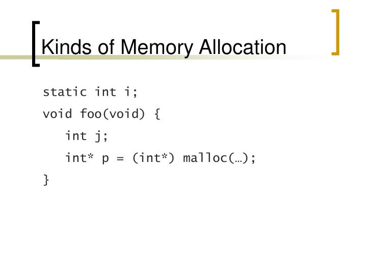 Kinds of Memory Allocation