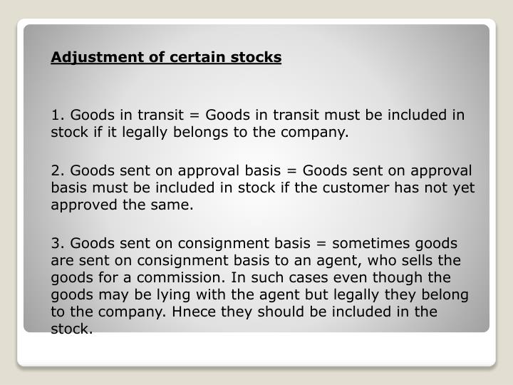 Adjustment of certain stocks