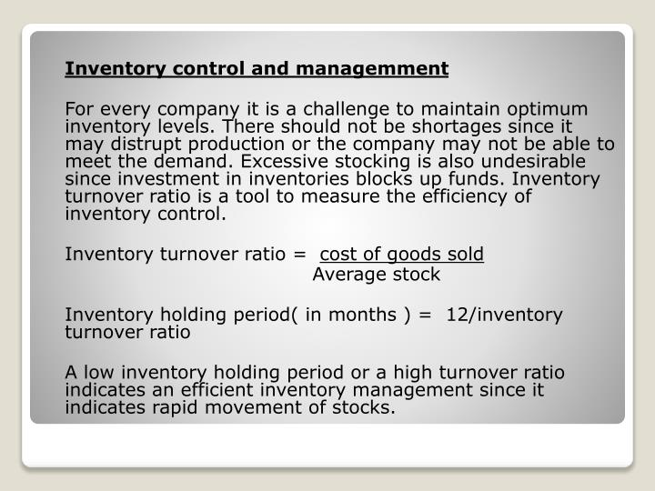 Inventory control and managemment