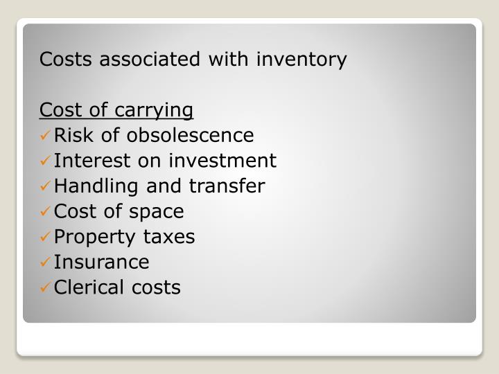 Costs associated with inventory