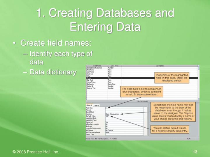 1. Creating Databases and