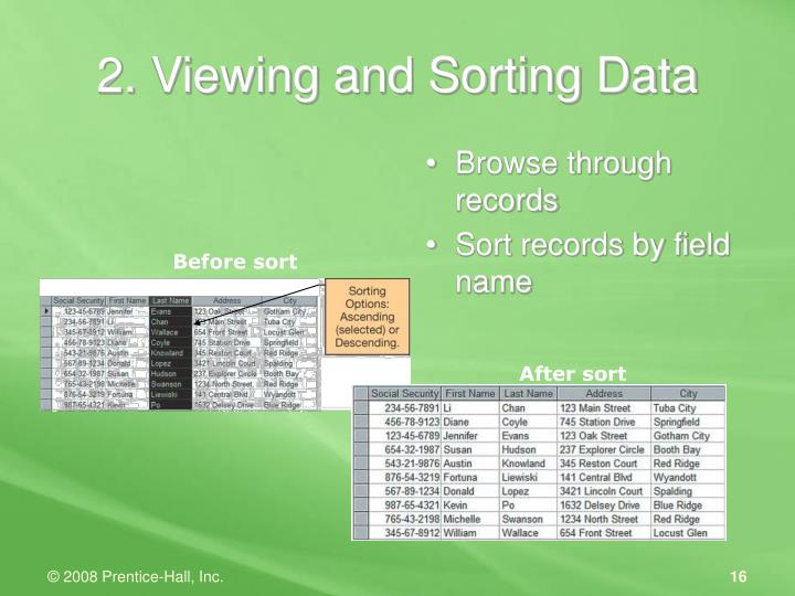 2. Viewing and Sorting Data