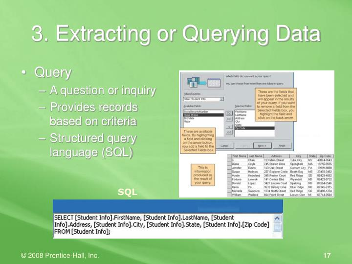 3. Extracting or Querying Data