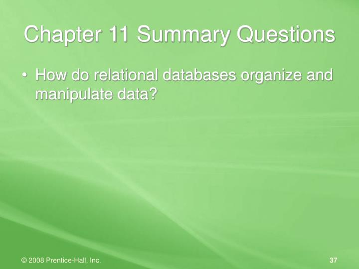 Chapter 11 Summary Questions