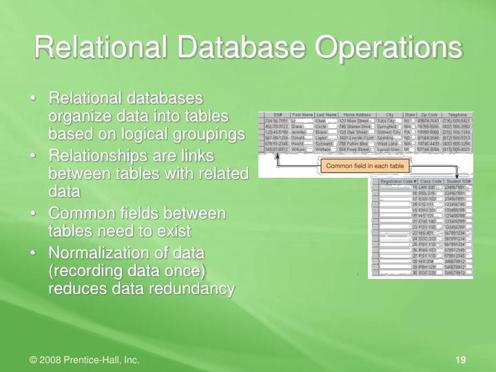Relational Database Operations