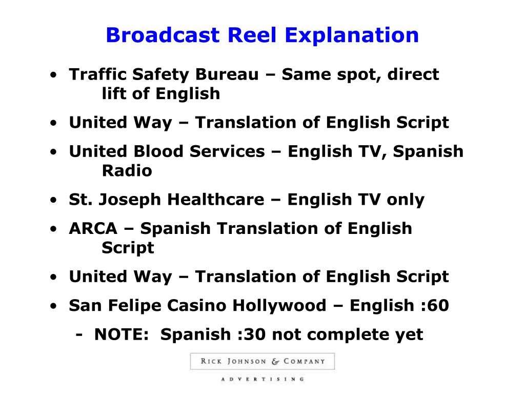 Broadcast Reel Explanation