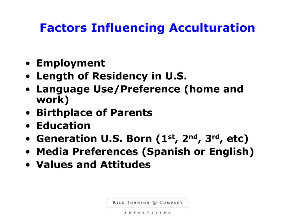 Factors Influencing Acculturation
