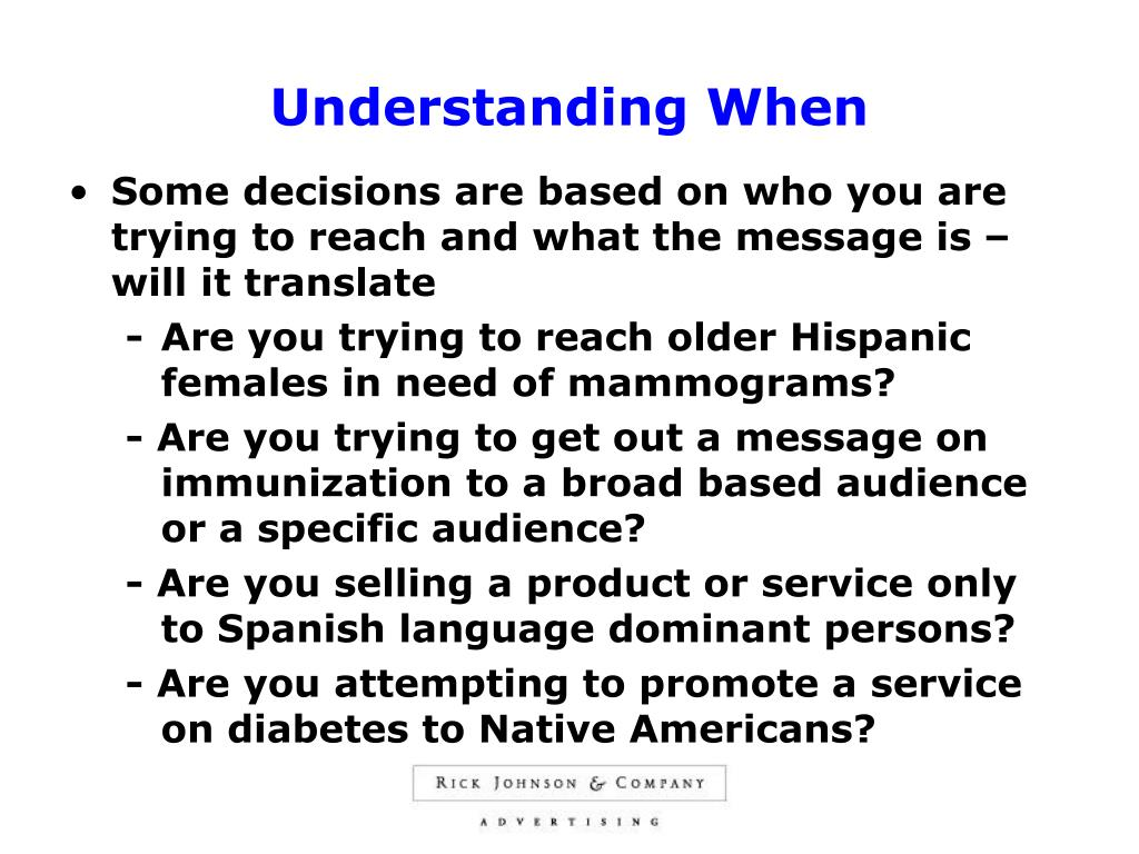 Understanding When