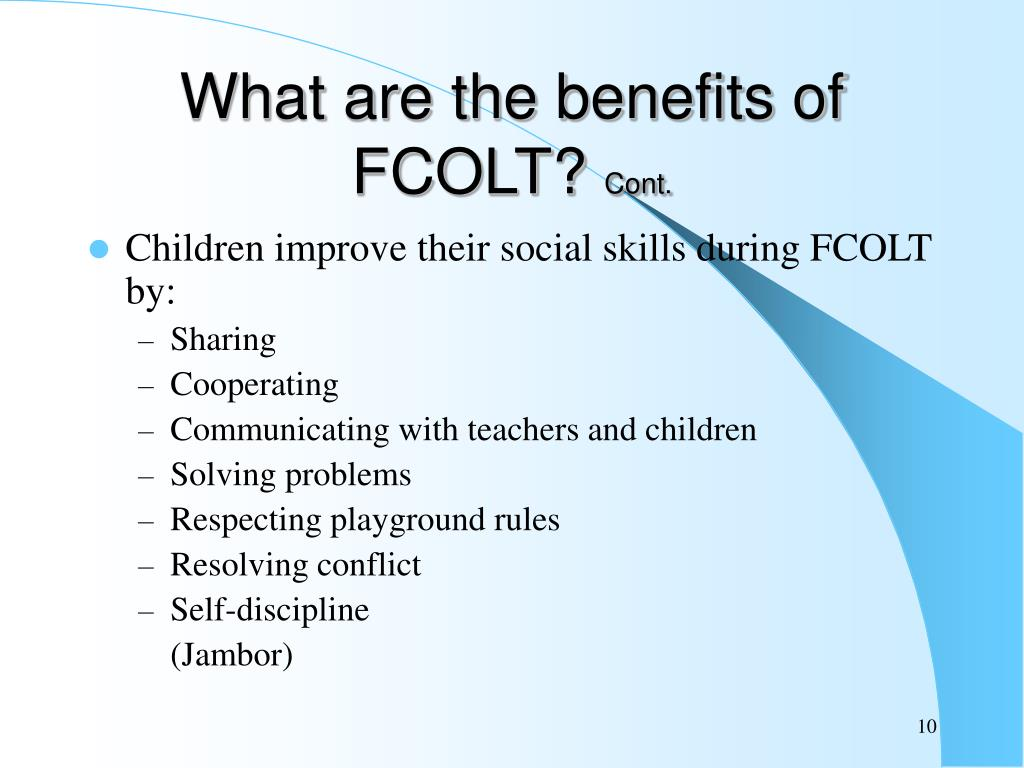 What are the benefits of FCOLT?