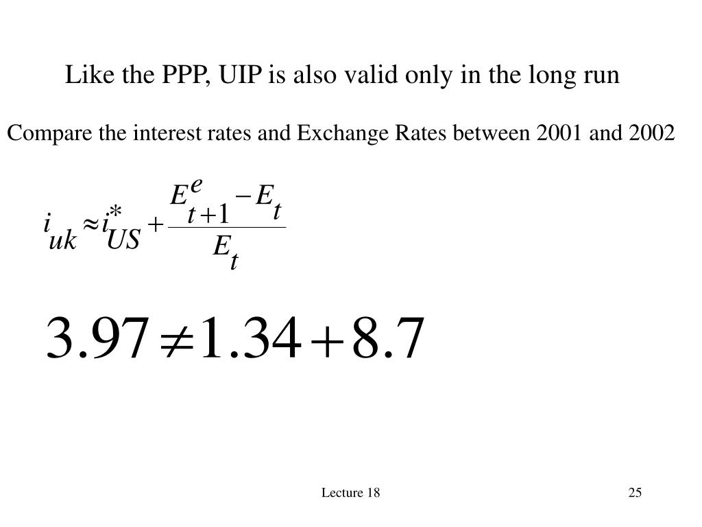 Like the PPP, UIP is also valid only in the long run