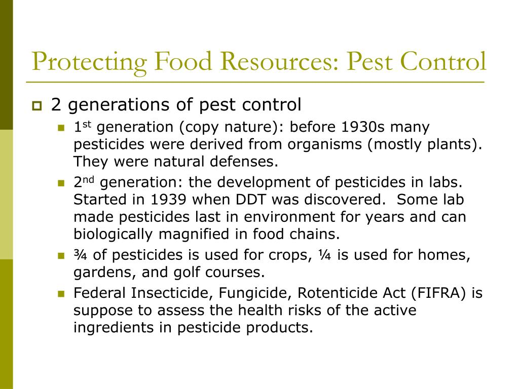 Protecting Food Resources: Pest Control