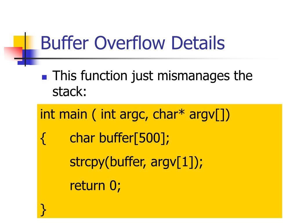 Buffer Overflow Details