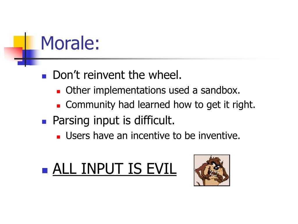 Morale: