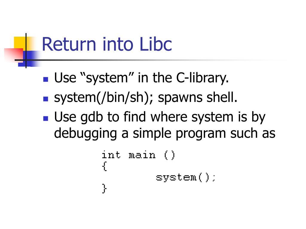 Return into Libc
