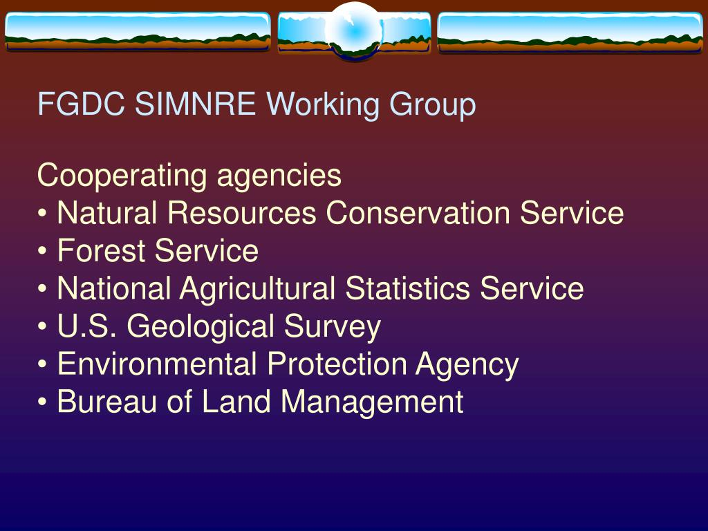 FGDC SIMNRE Working Group