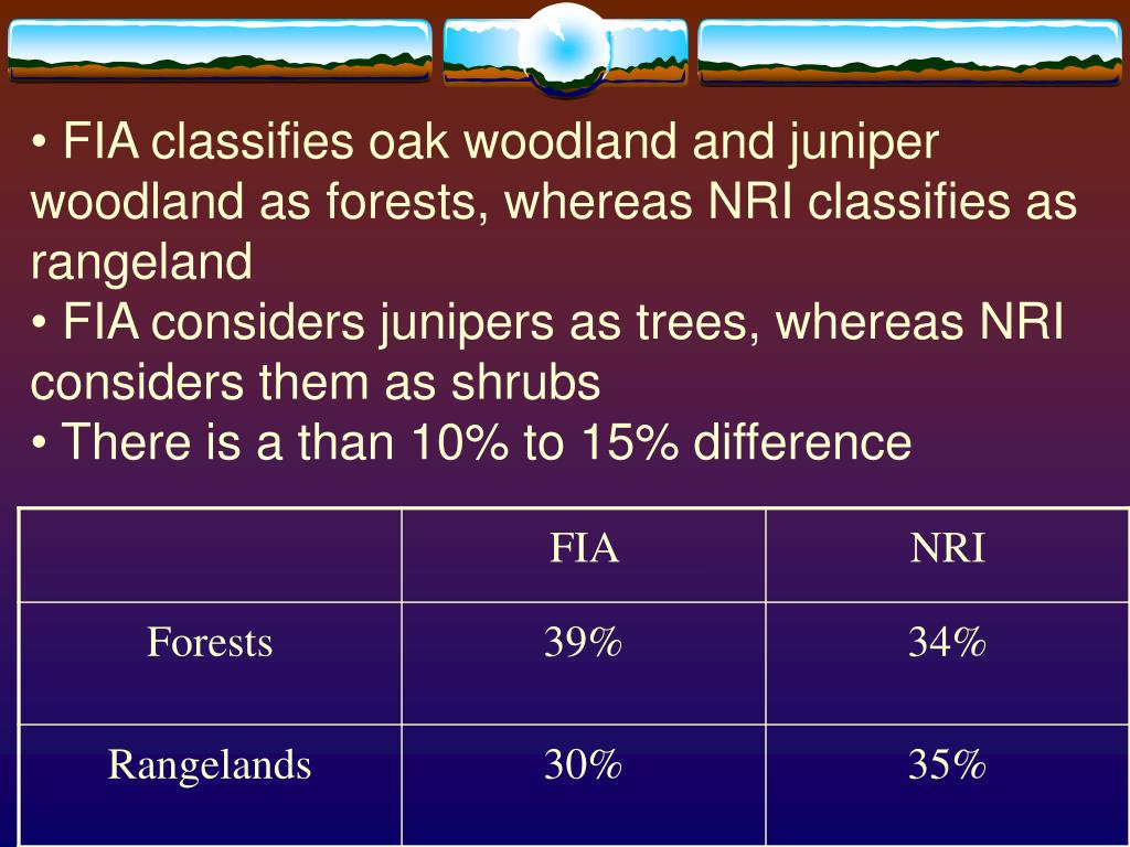 FIA classifies oak woodland and juniper woodland as forests, whereas NRI classifies as rangeland