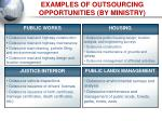examples of outsourcing opportunities by ministry