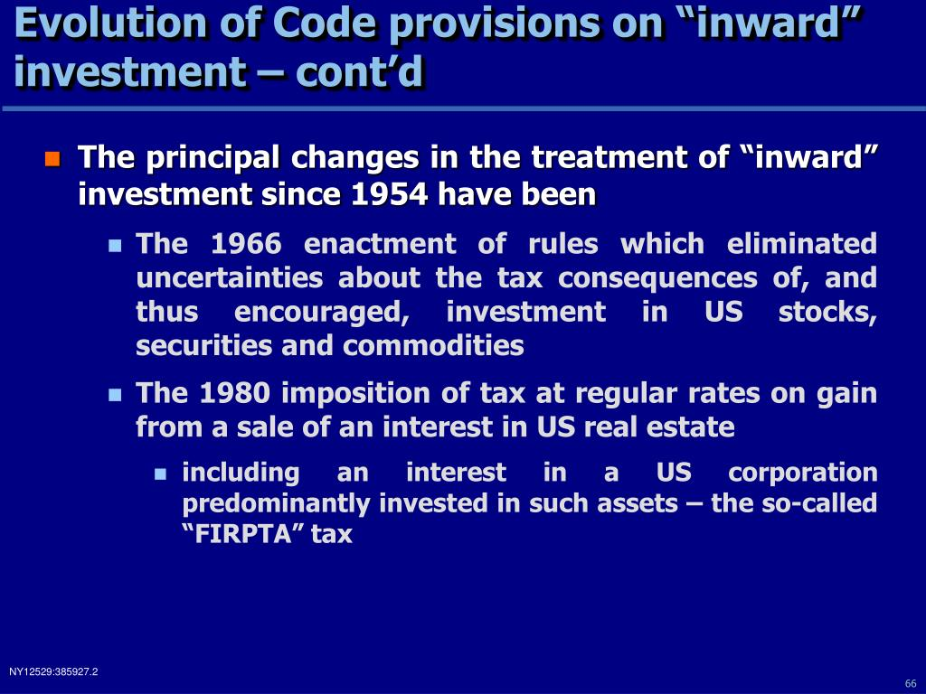 "Evolution of Code provisions on ""inward"" investment – cont'd"