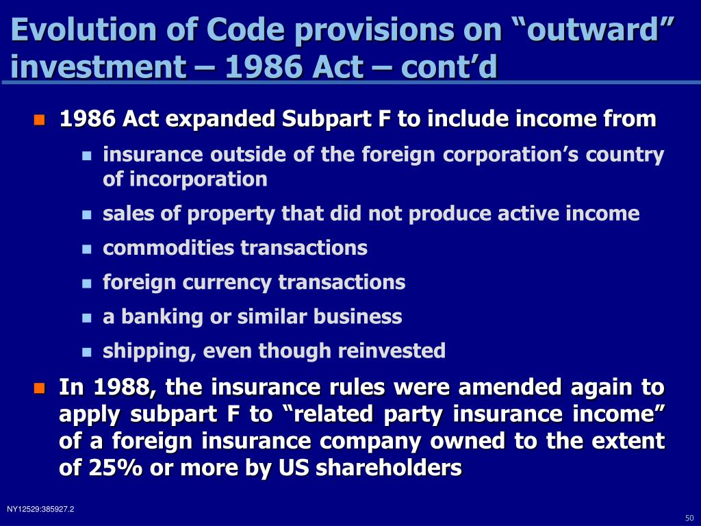 "Evolution of Code provisions on ""outward"" investment – 1986 Act – cont'd"