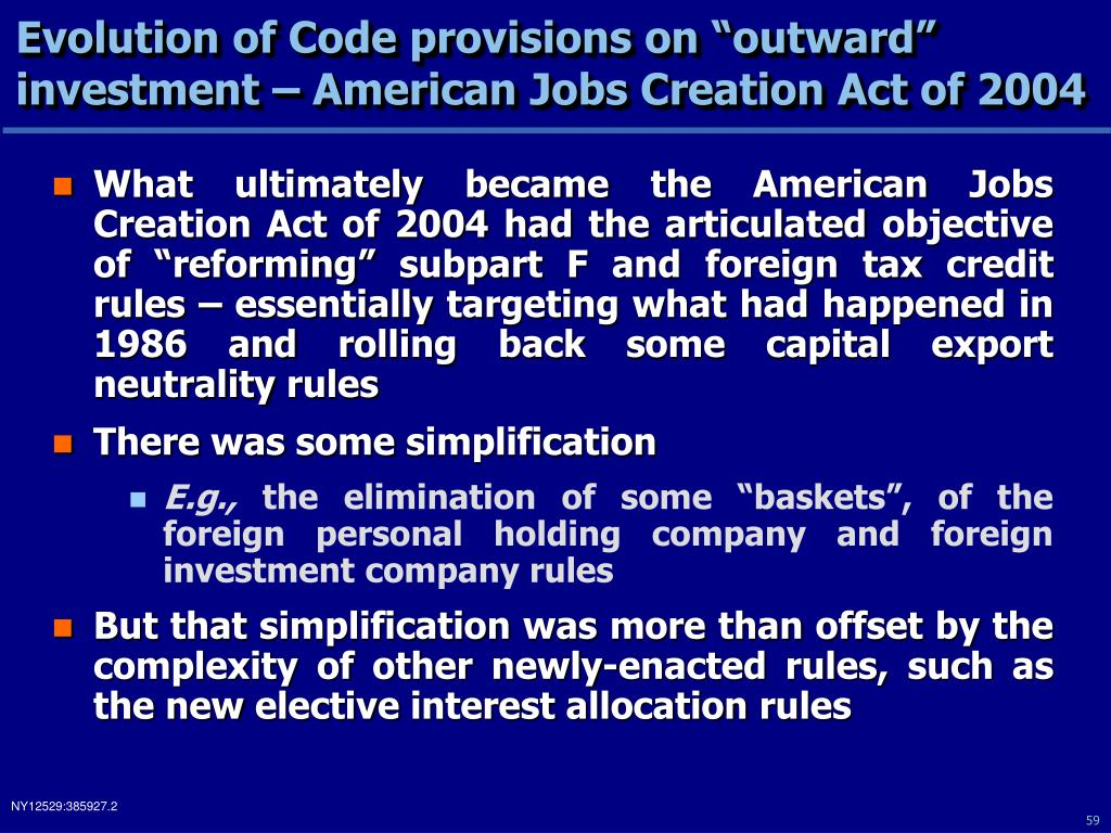 "Evolution of Code provisions on ""outward"""