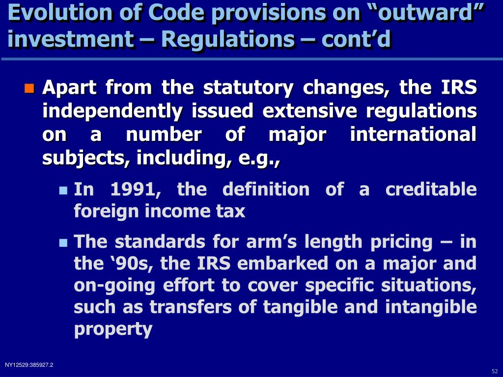 "Evolution of Code provisions on ""outward"" investment – Regulations – cont'd"
