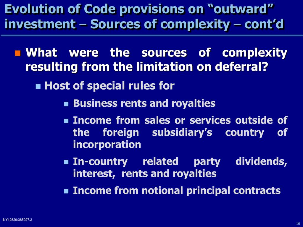 "Evolution of Code provisions on ""outward"" investment"