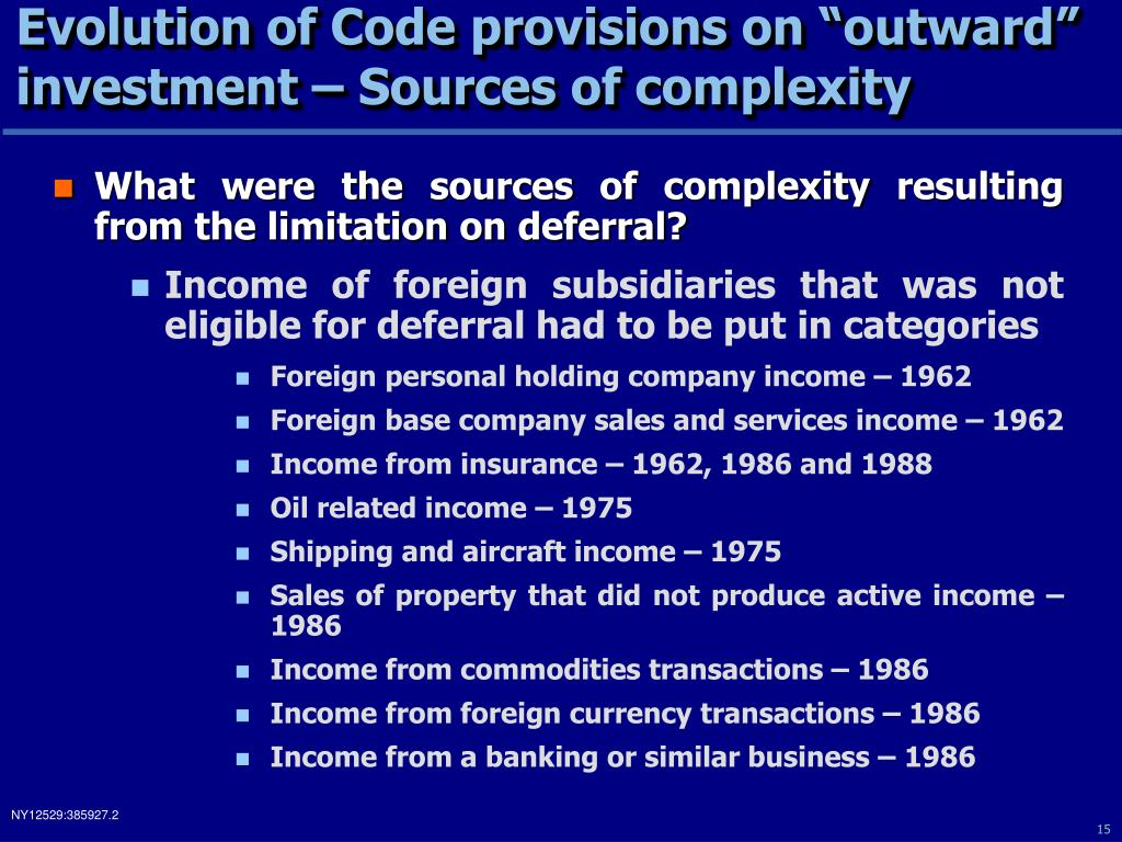 "Evolution of Code provisions on ""outward"" investment – Sources of complexity"